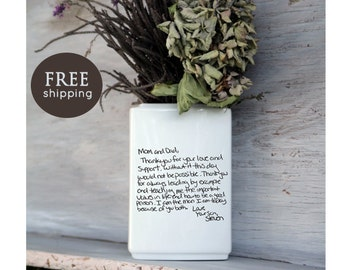 Letter Vase, your handwritten letter on a vase. Wedding, Anniversary, Bride to Be, Thank you mom and dad gift, Valentines Day