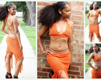 2pc Skirt and Bikini Top set - Burnt Orange with Fringe - Beach Set - Sale - Sale - Clearance
