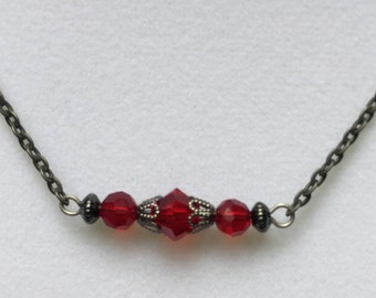 Red Beaded Bar Necklace