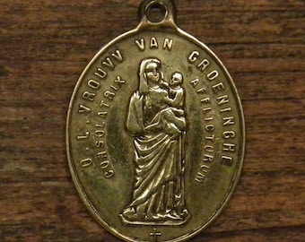 antique bronze Dutch religious medal pendant  our holy lady of Groeninghe Courtrai