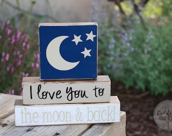 I Love You To The Moon and Back - stacking blocks - nursery decor - baby shower