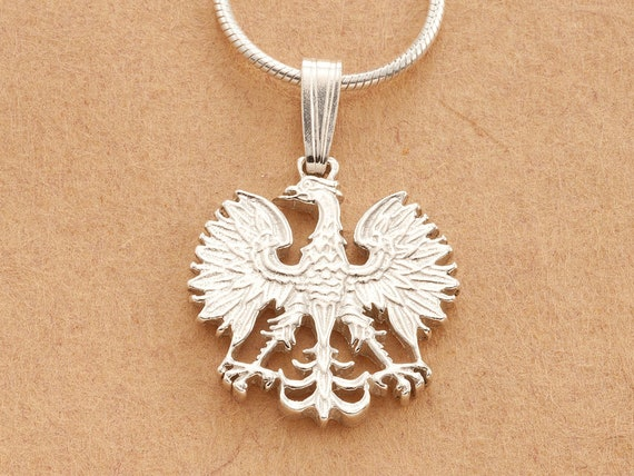 Silver polish eagle pendant and necklace hand cut polish silver polish eagle pendant and necklace hand cut polish eagle coin sterling silver polish eagle jewelry 58 in diameter 254s aloadofball Choice Image