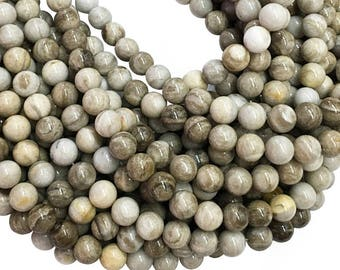 Silver Leaf Jasper Round Beads,6mm 8mm 10mm Gemstone Beads ,Approx 15.5 Inch Strand