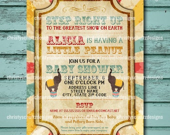 Custom Circus Themed Baby Shower Invitation