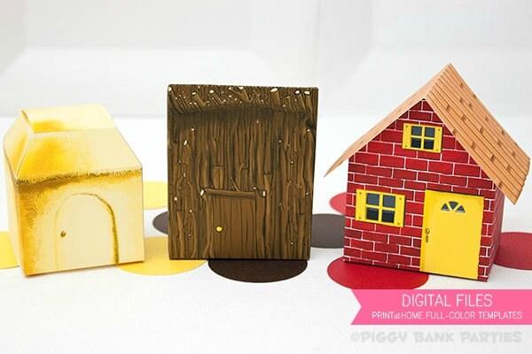 Three Little Pigs Brick Stick And Straw House Favor Box Set