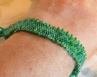 Green Peyote Stitch Picot Edge Bracelet Handwoven Gift