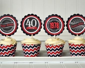40th Birthday Cupcake Toppers, 40th Birthday Decorations, 40th Birthday Party, 40th Birthday Favors, 40th Party Favors, 40th Invitation