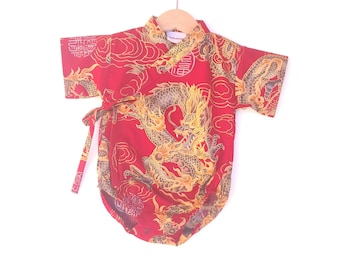 Baby Kimono Bodysuit - Red Golden Dragon - baby toddler - cute baby clothes japanese jinbei