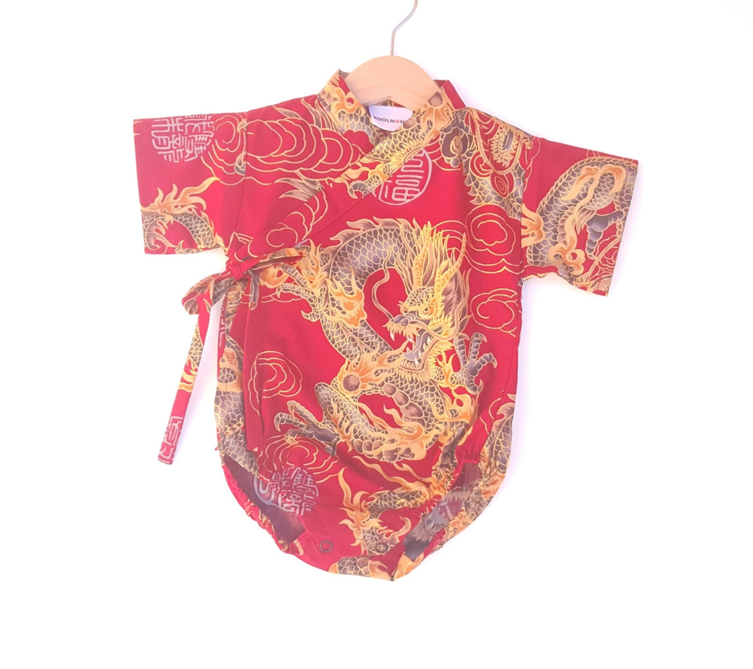 Baby Kimono Bodysuit Red Golden Dragon baby toddler cute baby