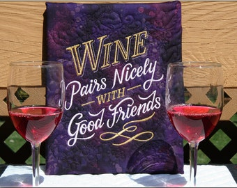 Wine & Friends Quilted Canvas Handmade Quilted and Embroidered Mounted on 8x10 Canvas by Mary Brader #642