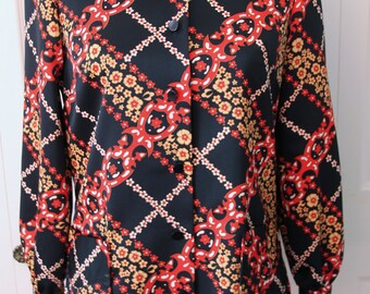 1970s Black and Red Blouse with Pockets Medium