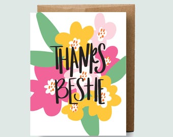 Galentines Day Card | Best Friend Thank You Card | Funny and Honest Card | Thanks Bestie | Funny Thank You Card | Thank You Card for Her