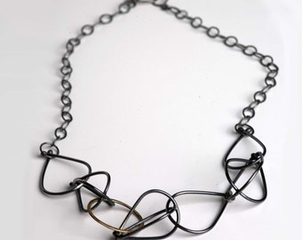 Vessel Necklace in Sterling Silver and Gold Fill