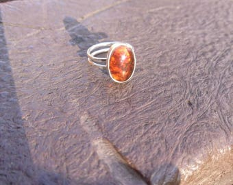 Amber Oval Cabochon Sterling Silver ring with a double band