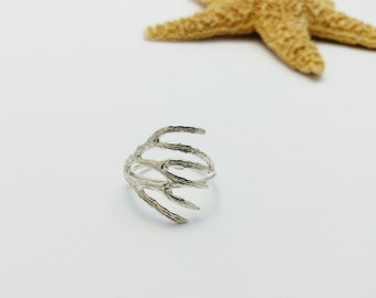 Coral silver ring, Ocean inspired jewelry, Nature Jewelry, Botanical Jewelry, Woodland Jewelry, Sea Shell, Coral Branch, Handmade