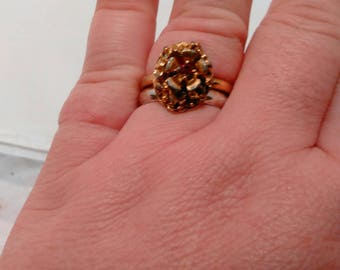 Vintage Collection - Victorian Style Gold color metal with red glass stone adjustable ring by Vogue Jewelry