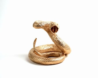 The Gilded Snake - Gold Reptile Snake Figurine - Animal Statue - Faux Taxidermy