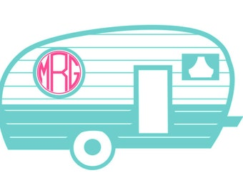 Monogram Camper Vinyl Decal! Retro RV Air Stream Sticker for Yeti, Car, Laptop or Shirt Iron On!  Customize Colors