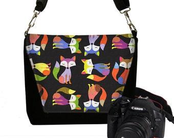 Digital Slr Camera Bag Purse for Women Nikon Canon DSLR Camera Case Cute Hipster Foxes  black purple green orange RTS