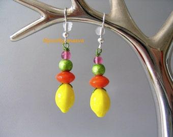 costume jewelry earrings yellow, orange and green beads lemon