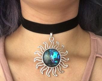 Abalone Sun Pendant Black Velvet Choker