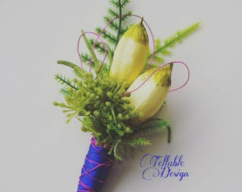 Green Summer wedding boutonniere greenery wedding flowers customizable colors Grooms lapel pin buttonhole