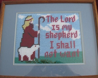 """FRAMED NEEDLEPOINT """"The Lord Is My Shepherd I Shall Not Want"""" 12"""" X 14 3/4"""" Oak Frame"""