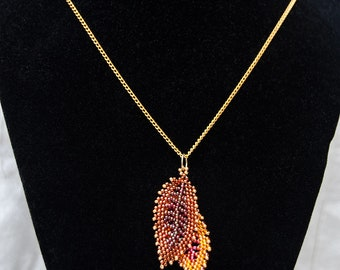 Double Russian Leaf Pendant in Flame Colors