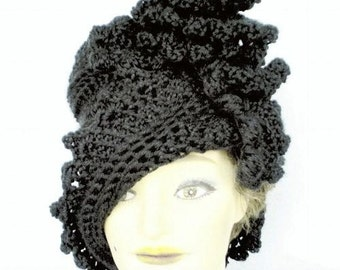 Black Twisted Hat For Women
