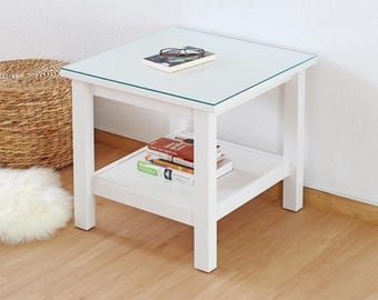 Table Top 55 x 55 cm for Ikea Hemnes table-top support plate made of safety glass (6 mm ESG-Glass)