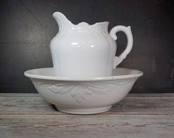 Antique Ironstone Bowl and Pitcher