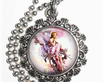 Magical Fairy on a Flowery Tree Art Photo Charm Pendant Necklace, Free Non Rust Ball Chain, Jewelry By YessiJewels
