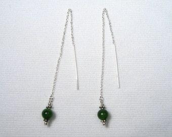 Lyn's Jewelry Jade Threader Earrings Sterling Silver