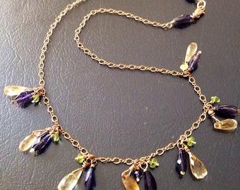 Gemstone Tasselled Gold Filled Necklace