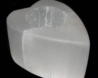 Selenite heart candleholder
