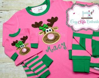 Girls Christmas Pajamas, Family Christmas Pajamas, Kids Christmas Pajamas, Christmas Pajamas for Children, Reindeer Applique Embroidery