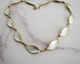 David Andersen Norway 925 Silver Gold Washed White Enamel Leaf Necklace. Modernist Collar. Winnaess Scandinavian Sterling Silver Necklace