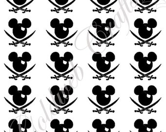 Pirate Mickey Mouse Inspired Vinyl Decals/Stickers (set of 25)