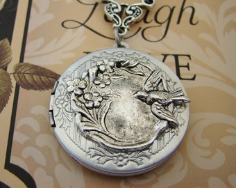 Silver Locket Valentines Day  Bird Necklace Wedding Bride Bridesmaid Mother Daughter Wife Sister Daughter Photo Pictures - Alicia