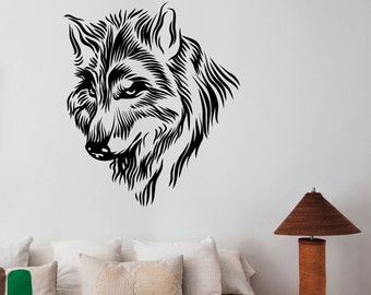Wolf Head Wall Decal Vinyl Sticker Wild Animal Nature Art Decorations for Home Housewares Dorm Room Bedroom Office Wildlife Decor wlf7