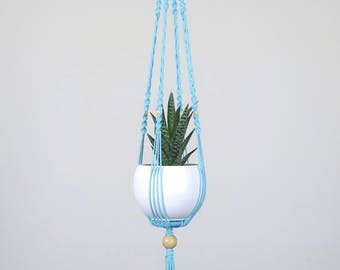 With flower pot, plant turquoise H78 cm hanging macrame plant holder