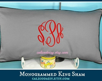 King Sham Set - Large Font Monogrammed Pillow Shams - Set of Two