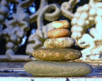 Natural Beach Rock Cairn 5 Sea Stone Stack Zen Garden Sculpture Zen Stones Garden Sculpture Summer Meditation Gifts Waldorf Ocean Rock Art