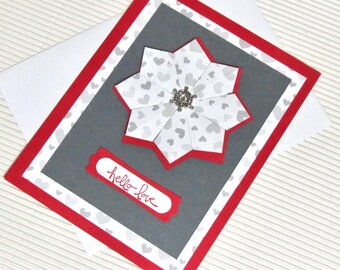 Hello love card handmade stamped love anniversary Valentine friendship red hearts stationery greeting paper quilting origami pinwheel party