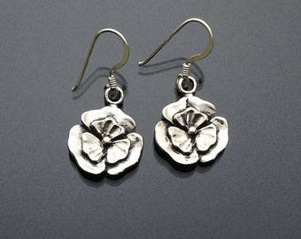 925 Solid Sterling Silver FLOWER  Earrings/Dangling/Hook/Floral Earrings/Flower Earrings