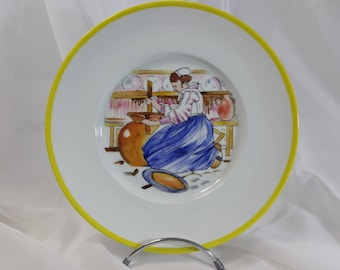 "Limoges porcelain plate hand painted ""baratteuse"" by Mathurin Méheut"