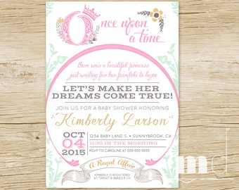 Once Upon a Time Baby Shower Invitations, Fairytale Baby Shower, Storybook Baby Shower Invite, Once Upon A Time Cinderella, PRINTABLE