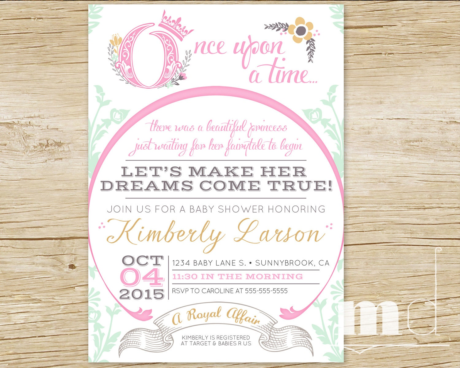 Once Upon a Time Baby Shower Invitations Fairytale Baby