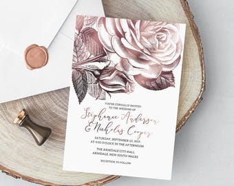 Personalized gold rose flower wedding invitation templates, invitation, 5x7 multiple and single, gold wedding, BIS-020