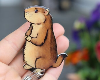 Prairie Dog Retractable ID Badge holder for prepunch badges 33 inch cord CNA HCA Housekeeping veterinarian Nurse Prairie Dog  lover gift
